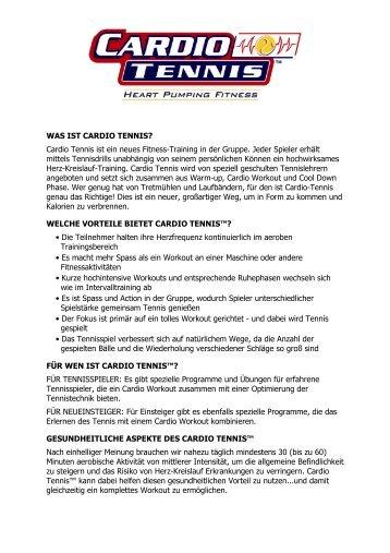 WAS IST CARDIO TENNIS? Cardio Tennis ist ein neues Fitness ...
