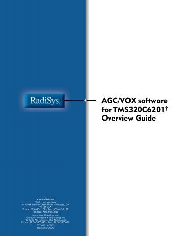 AGC/VOX software for TMS320C6201 Overview Guide - Radisys