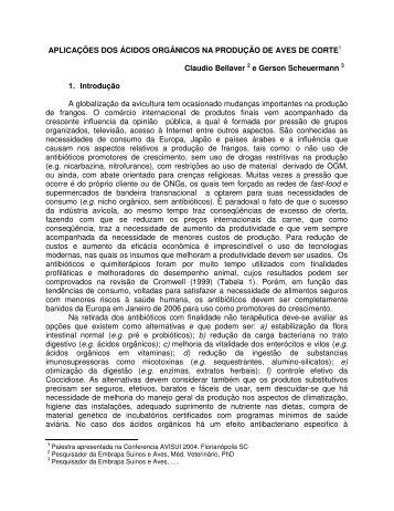 APLICAÇÕES DOS ÁCIDOS ORGÂNICOS NA PRODUÇÃO DE ...