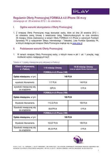 Regulamin Oferty Promocji FORMUŁA 40 iPhone (36 miesięcy) - Play