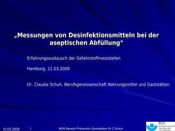 Messungen von Desinfektionsmitteln bei der ... - Bua-verband.de