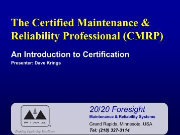 Maintenance & Reliability Professional Review - PIMA