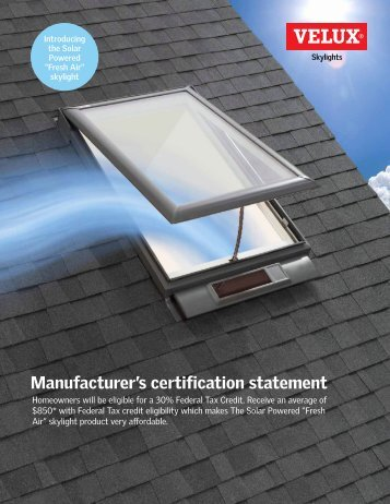 Manufacturer's certification statement - Velux