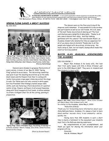 ACADEMY DANCE NEWS - Aloha Ballroom