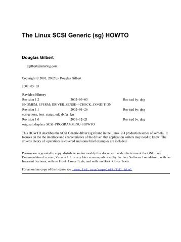 the linux scsi generic sg howto pdf