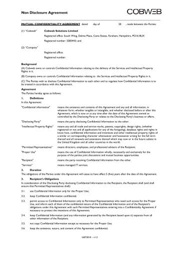 NonDisclosure Agreement Pdf  Gordon Brush