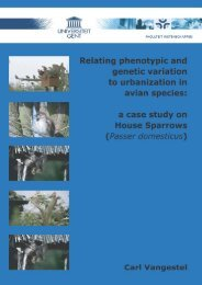 a case study on house sparrows - Ghent Ecology - Universiteit Gent