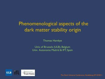 Phenomenological aspects of the dark matter stability origin