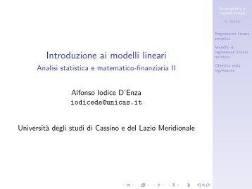 Introduzione ai modelli lineari - Analisi statistica ... - Docente.unicas.it