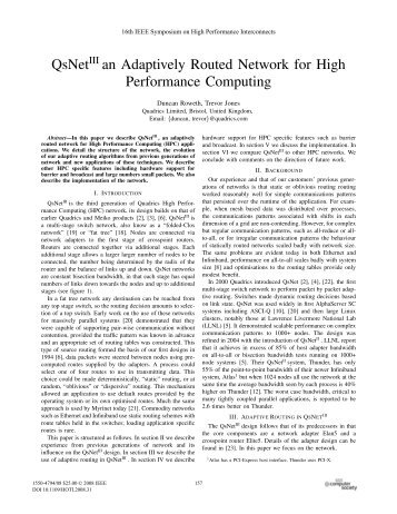 QsNetIII an Adaptively Routed Network for High ... - IEEE Xplore