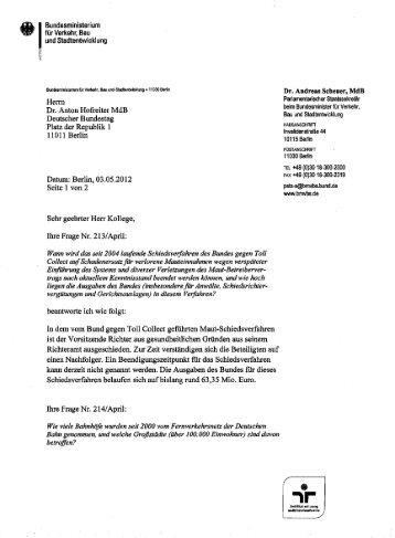 Herrn Dr. Anton Hofreiter MdB Deutscher Bundestag Platz der ...