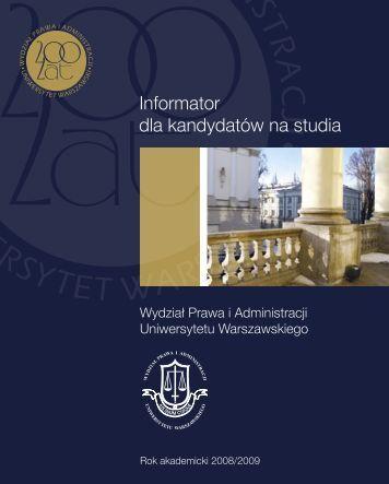 Informator dla kandydatów na studia - Wydział Prawa i Administracji ...