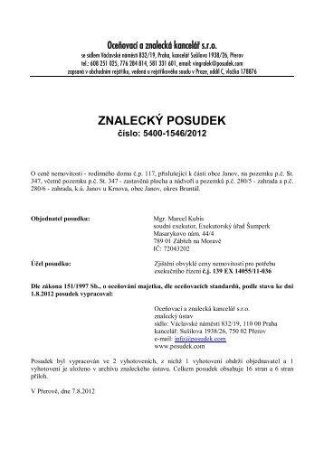 ZNALECKÝ POSUDEK číslo: 5400-1546/2012 - OKdrazby.cz