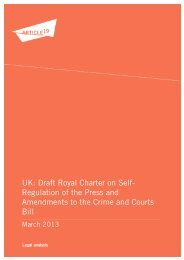 Draft Royal Charter on Self- Regulation of the Press and ... - Article 19