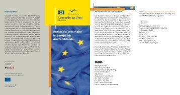 Auslandsaufenthalte in Europa für Auszubildende - Europa in Bremen