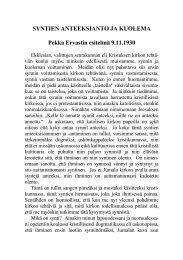SYNTIEN ANTEEKSIANTO JA KUOLEMA Pekka Ervastin esitelmä ...