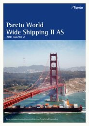 Pareto World Wide Shipping II AS - Pareto Project Finance