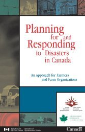 Planning for & Responding to Disasters in Canada - Agricultural ...