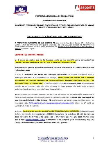 Edital 004/2010 - Locais de Provas - asperhs