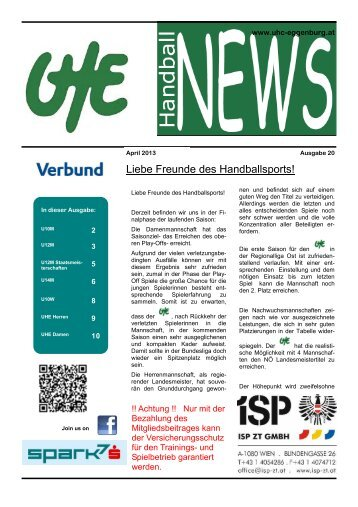 UHE Handball News #20(04/2013) - UHC Eggenburg