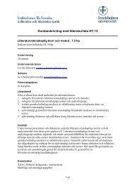 Kursbeskrivning med litteraturlista HT-13 - Institutionen för franska ...