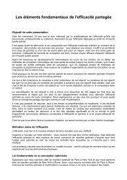 Les éléments fondamentaux de l'efficacité partagée - Admiroutes