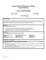 Lesson Plan for Virtue Focus Book: Say Something Virtue ...