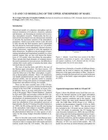 1-D and 3-D Modeling of the Martian Upper Atmosphere - The Mars ...