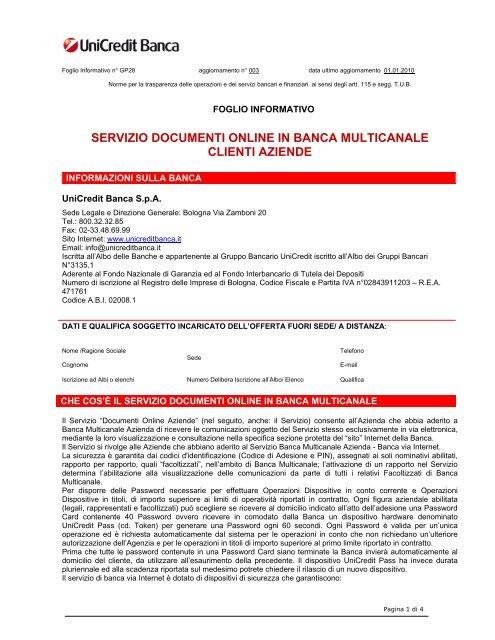 Servizio Documenti Online In Banca Multicanale