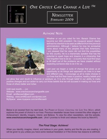 February 2009: The Final Stage: Achieve - Amethyst Moon Publishing