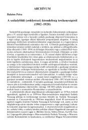 A székelyföldi (erdélyrészi) kirendeltség tevékenységéről (1902 ...
