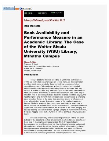 Book Availability and Performance Measure in an Academic Library ...