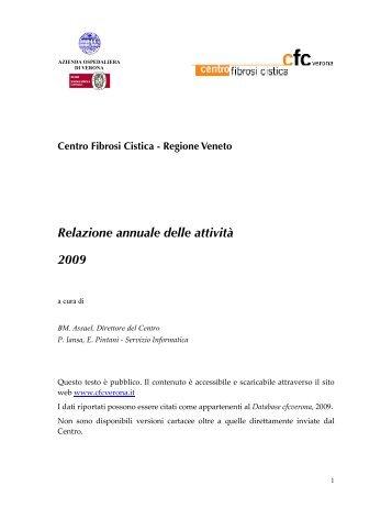 Relazione annuale delle attività 2009 - Centro Regionale Veneto ...