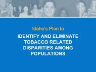 Idaho's Plan to Identify and Eliminate Tobacco Related Disparities ...