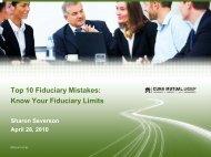 Top 10 Fiduciary Mistakes - CUNA Mutual Group