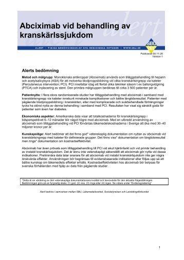 Abciximab vid behandling av kranskärlssjukdom - SBU