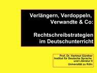Rechtschreibstrategien im Deutschunterricht - Universität zu Köln