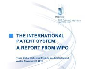 THE INTERNATIONAL PATENT SYSTEM: A REPORT FROM WIPO