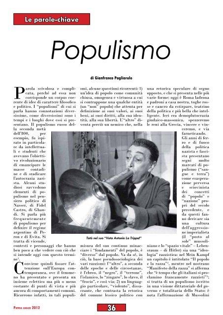 """""""Populismo"""", di Gianfranco Pagliarulo - Anpi"""