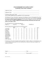 4-H LEADERSHIP TEAM APPLICATION Community Club Leader ...