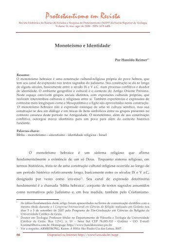 Monoteísmo e Identidade - Faculdades EST