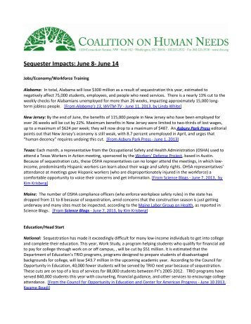 Sequester Impacts: June 8- June 14 - Coalition on Human Needs