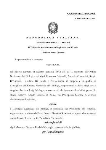 Sentenza TAR Lazio n. 2031/2012 - Ordine Nazionale dei Biologi