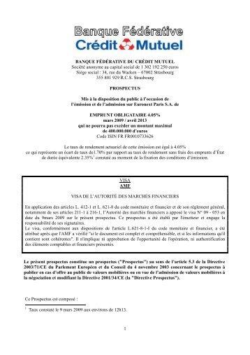 1 BANQUE FÉDÉRATIVE DU CRÉDIT MUTUEL Société anonyme ...