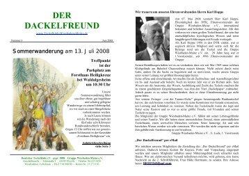 Der Dackelfreund - Nr. 3/2008 - Teckelklub Wiesbaden/ Mainz