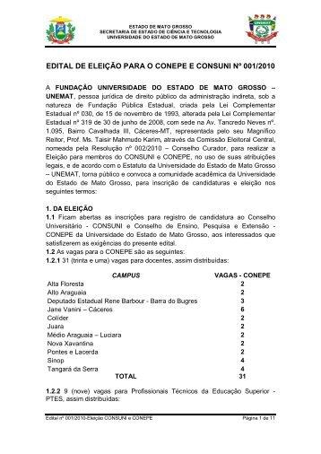 EDITAL DE ELEIÇÃO PARA O CONEPE E CONSUNI ... - UNEMAT