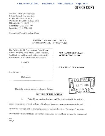Case 1:05-cv-08136-DC Document 36 Filed 07/26/2006 Page 1 of 17