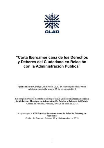 Carta Iberoamericana de los Derechos y Deberes del Ciudadano en Relacion con la Administracion Publica