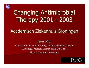 Changing Antimicrobial Therapy 2001 - 2003 - SWAB