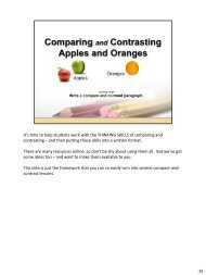 Compare and Contrast, Apples to Oranges in NOTES